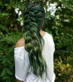 """""""Adapt to your surroundings."""" CAMOUFLAGE inspired haircolor!! Using the NEW @PRAVANA •BLACK•! Adding small doses to each color to create these beautiful shades of green and olive! Braided by my amazing assistant @maayanbescene! Model @1004mml #BESCENE"""
