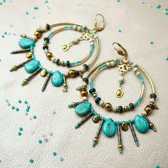 """Купить Бирюзовые серьги кольца """"Gypsy"""". Сережки крупные бохо с камнями. - ручной работы"""