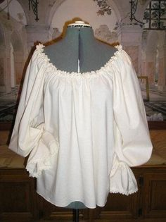 Renaissance Chemise Poet Blouse, Cotton with lovely Venise Lace Trim. $55.00, via Etsy.