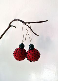 Red and Black Felted Earrings  Felted Red Earrings  long by LinaBi, $19.00