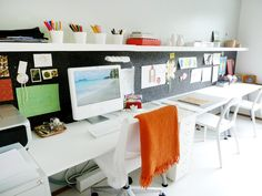 this shared kid/adult desk space makes me feel like angels are singing in the heavens. Aigu's Love for Apple DeskTops - The Best of Office Desks | Apartment Therapy