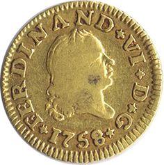 Moneda de oro 1/2 escudo Fernando VI 1758 Sevilla.
