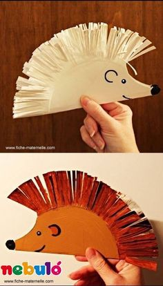 3 fun and easy ways to use our free hedgehog template to create cute hedgehog crafts for kids. Fun fall crafts for kids -Leaf hedgehog, fork painted hedgehog and ruler lines hedgehog craft. Cute woodland animal crafts for kids. Kids Crafts, Toddler Crafts, Projects For Kids, Art Projects, Arts And Crafts, Paper Crafts, Craft Kids, Diy Paper, Paper Plate Crafts For Kids