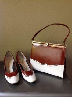 60's Vintage Matching Wing Tip Shoe Purse Set