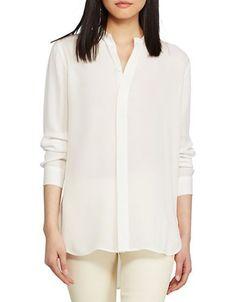 Polo Ralph Lauren Banded-Collar Silk Shirt Women's Off White 12