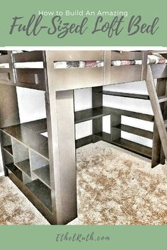 You'll want to see this full sized loft bed with shelves and desk underneath! It turned out amazing! A link with the plans is included in the post.