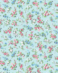 One Yard Sweet Shoppe (Calicos Candies) - Petite Nosegays in Aqua - Cotton Quilt Fabric - by Michele D'Amore for Benartex Fabrics (W1531)