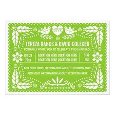 Papel picado love birds spring lime green wedding card