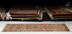 Persian Kerman Gallery Runner Ivory with allover design and subtle medallion