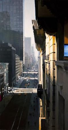 Ben Aronson Fifth Avenue 2010 oil on panel 84 x 44 inches