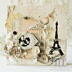 Canvas by Olga Heldwein featuring Ingvild Bolme Junkyard Findings, Chalk Edgers and Shabby Chic Treasures Scrapbook Canvas, Scrapbook Cover, Scrapbook Pages, Scrapbook Sketches, Mixed Media Scrapbooking, Scrapbooking Layouts, Altered Canvas, Altered Art, Mix Media