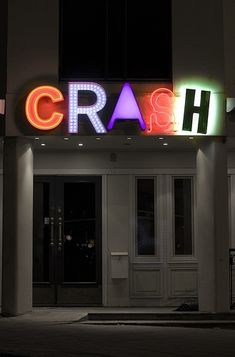 Crash ~ New School Neon Sign LOve how each letter is different. Contact us today for your neon sign www.ssar.com