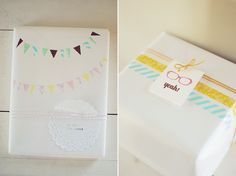White wrapping paper and cut washi tape into triangles to make the flag garland!