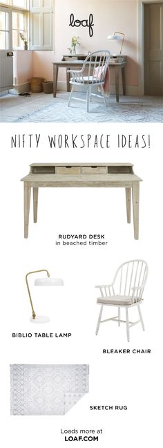 Our Rudyard desk is a slab of beached timber gorgeousness and an organiser& dream. Its four cubby holes are waiting to be filled with pencils, rulers and the inevitable rubber band ball. Home Office Design, Home Office Decor, Home Decor Bedroom, Cute Bedroom Ideas, Cute Room Decor, Chill Out Room, Aesthetic Room Decor, Small Room Bedroom, Cozy Room