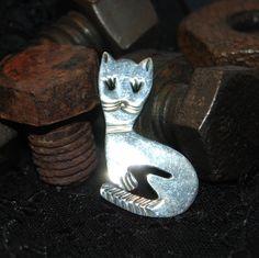 Pretty Kitty Cat Brooch in Vintage Sterling #BKC-KBRCH86 by BadKittyCrafts on Etsy