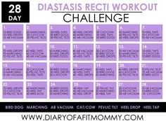 Diary of a Fit Mommy » 28 Day Diastasis Recti Workout Challenge to help heal those muscles and bring them back together after giving birth!