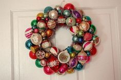 Love these vintage ornament wreaths.