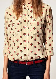 Long Sleeve Rose Print Blouse