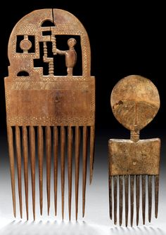 Africa | Combs from the Asante people of Ghana | Wood