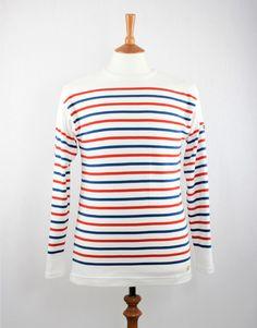Armor Lux 70228 LS Stripe T-Shirt - Cream/Blue/Red | Finistère Bretagne