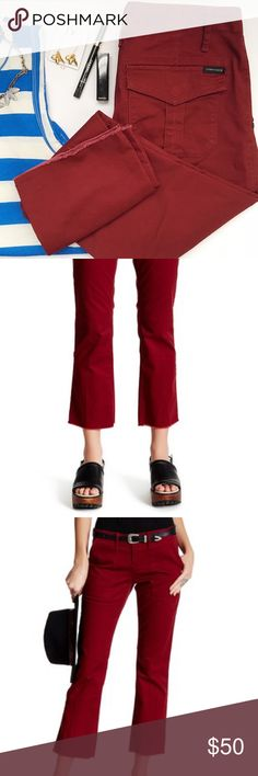 """NWT Sanctuary Dark Red Raw Hem Crop Pants - Zip fly with button closure - Slash pockets - Flap-snap pocket - Tonal topstitching - Seam detail - Frayed edges - Approx. 8.5"""" rise, 26"""" inseam - Imported - 98% cotton, 2% spandex Sanctuary Pants Ankle & Cropped"""