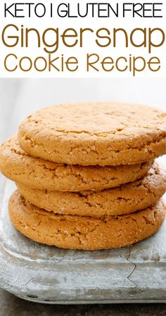 Learn how to make these delicious healthy ginger cookies. An all-time favorite dessert recipe for the holiday season or anytime of the year. - May 11 2019 at Keto Cookies, Cookies Sans Gluten, Dessert Sans Gluten, Gluten Free Cookie Recipes, Sugar Free Cookies, Sugar Free Recipes, Low Carb Recipes, Sugar Free Biscuits, Homemade Biscuits