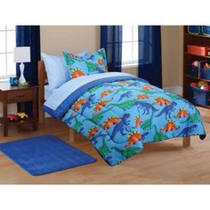 Mainstays Kids' Dinosaur Coordinated Bed in a Bag, Blue