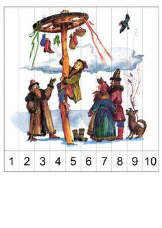 Učíme se číselnou řadu do deseti. V odkazu dvě skládanky, které lze vystřihnout, nalepit na silnější podložku, nebo zalaminovat a použít jako puzzle pro děti, které učíme, jak jdou čísla do deseti po sobě.