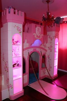 This perfect princess castle came with matching lights! Bed For Girls Room, Little Girl Rooms, Girls Bedroom, Room Kids, Cute Bedroom Ideas, Girl Bedroom Designs, Bed Ideas, Decor Ideas, Dream Rooms