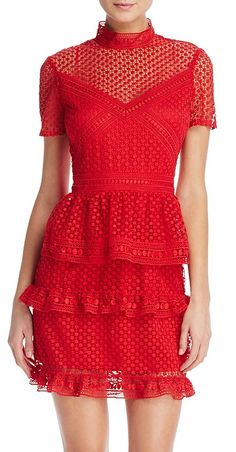 Red Hot Short-Sleeve Ruffled Dot Lace Dress