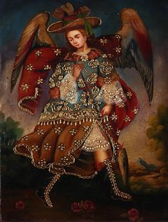 ARCHANGEL RAPHAEL CUZCO SCHOOL ORIGINAL OIL PAINTING ON CANVAS