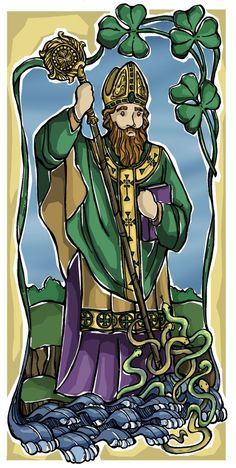 St. Patrick came from a rich English family and was kidnapped by pirates to be sold as a slave in Ireland. He escaped years later but returned to tell the Irish about Jesus. There are many legends about St. Patrick such as the story of how he banished all snakes from Ireland when he arrived. He also used the Shamrock leaf to explain the Holy Trinity. St. Patrick became Ireland's first Bishop, leaving a legacy for the island to become the center of Catholic faith for centuries.