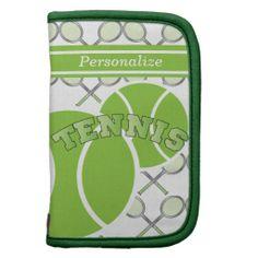 Green Design Tennis Planner.  www.zazzle.com/designsbydonnasiggy*  #sports #tennis #zazzle