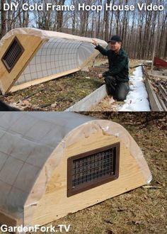 Hoop House Cold Frame Video. DIY Hoop House uses wire mesh instead of PVC. More Info: http://www.gardenfork.tv/hoop-house-cold-frame-2-diy-gf-video This is one of several hoop houses we have made, the wire mesh is inexpensive. See our site for where to buy the thermal vent we use.