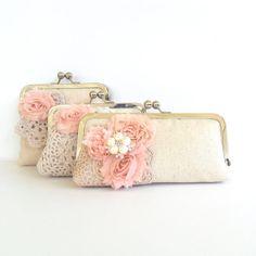 Blush pink bridal clutch shabby chic wedding by PaperFlora on Etsy, $53.00