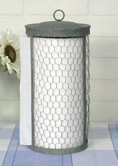 Classic Early American Country Primitive Chicken Wire Rustic Paper Towel Holder Great accent for any kitchen! Paper towel holder worthy of the finest homes!