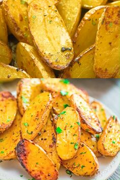 Made with oregano veggie broth garlic and lemon juice these Roasted Fingerling Potatoes are bursting with flavor They make a great side dish or a filling dinner Vegan fri. Healthy Chicken Dinner, Easy Healthy Dinners, Healthy Chicken Recipes, Vegan Dinners, Salmon Recipes, Healthy Dinner Recipes, Vegetarian Appetizers, Vegetarian Recipes, Simple Cooking Recipes