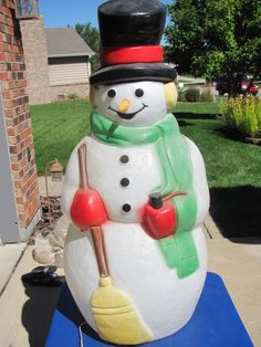 Vintage don featherstone christmas blow mold snowman w santa 38 empire snowman carrot nose xmas blowmold light up plastic outdoor decor vtg ebay mozeypictures Choice Image