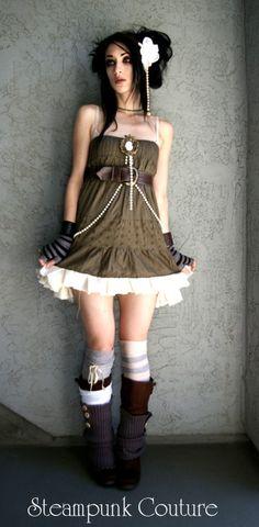 babydoll dress, tank under, lots of socks and arm/leg warmers