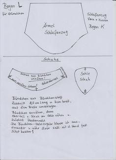 Schnittmuster Schlafanzug Teil  2 von 2  und Schuhe