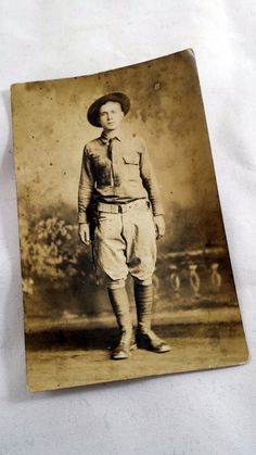WWI Soldier Post Card. Early 1900s Cabinet Card. Rough Rider. Teddy Roosevelt. Boyscout. RPPC Early 1900s RPPC. Real Photo Post Card. Featuring