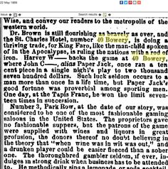 """1869.5.22. """"Dr. Brown is still flourishing as bravely as ever and the St. Charles Hotel, No.40 Bowery, is doing a thriving trade, for King Faro."""""""