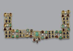 WHOA! Necklace, ca. 330–350 Gold, precious stones H. 0.128 m., w. 0.228 m. From Polis Chrysochous (ancient Marion), Paphos District, Cyprus Athens, Museum of Cycladic Art, Collection of Cypriot Art, Z.0438.1