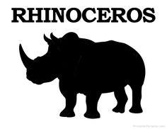Printable Rhinoceros Silhouette