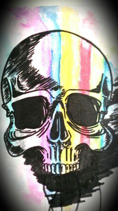 Skull and water colorous