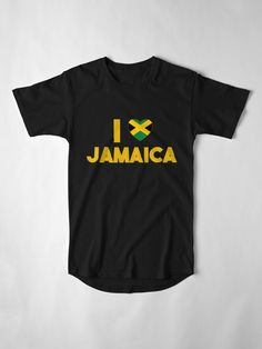 'I Love Jamaica With Jamaican Flag Colours Heart ' Long T-Shirt by EverythingJA Flag Colors, Colours, Jamaica, My Love, Clothing, Mens Tops, T Shirt, Stuff To Buy, Fashion