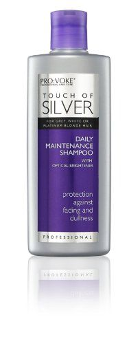 Touch Of Silver Daily Shampoo - Pro voke Touch of Silver Silver Sensations Shampoo Professionally designed for Grey, White or Platinum Blonde Hair Daily Protection against Fading and Dullness Optical Brightener Maintains Silver Tones The Resul Grey White Hair, Silver Grey Hair, Shampoo For Gray Hair, Hair Shampoo, Grey Hair Care, Just Natural Products, Platinum Blonde Hair, Hair Care Routine, Hair Health
