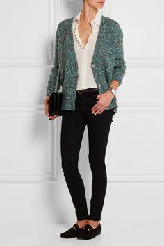 Gucci|Cardigan en laine mélangée à effet chiné|NET-A-PORTER.COM