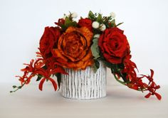 Orange and Red Roses Fall Silk Floral от FloralDesignsByAlka, $80.00