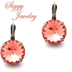 Swarovski Crystal Earrings, Padparadscha Rivoli, Bright Coral Pink,... (1,165 INR) ❤ liked on Polyvore featuring jewelry, earrings, pink coral earrings, swarovski crystals earrings, swarovski crystal earrings, pink jewelry and coral jewelry